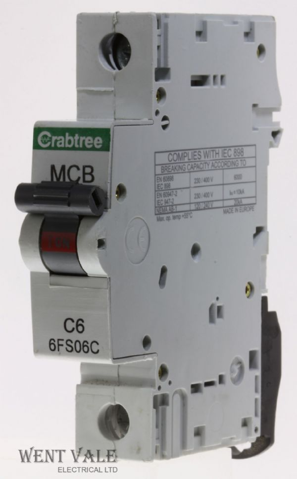 Crabtree Loadstar - 6FS06C - 6a Type C Single Pole MCB Used